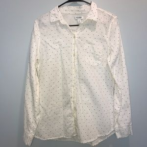 Linen polka dot button up
